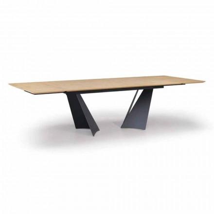 Roztažitelný designový stůl až do 294 cm ze dřeva a kovu vyrobený v Itálii - Nuzzo