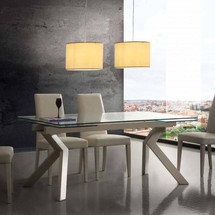 Design stůl rozšiřitelný kov a tvrzené sklo Mesa