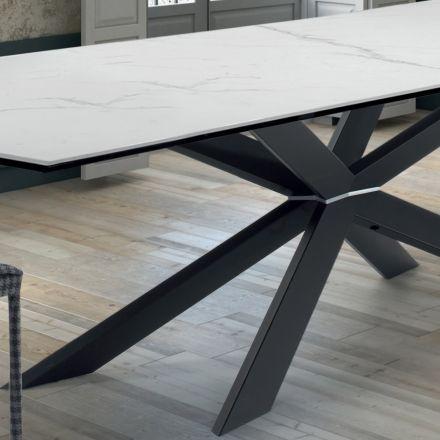 Kuchyňský stůl designu z mramoru a černé oceli vyrobené v Itálii - Grotta