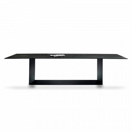 Designový stůl v Matt Noir Desir Keramika a kov Vyrobeno v Itálii - tmavě hnědá