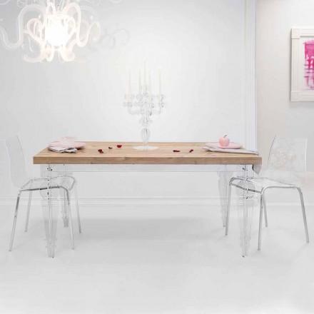 Designový stůl z jedle a plexisklo vyrobené v Itálii, Castro