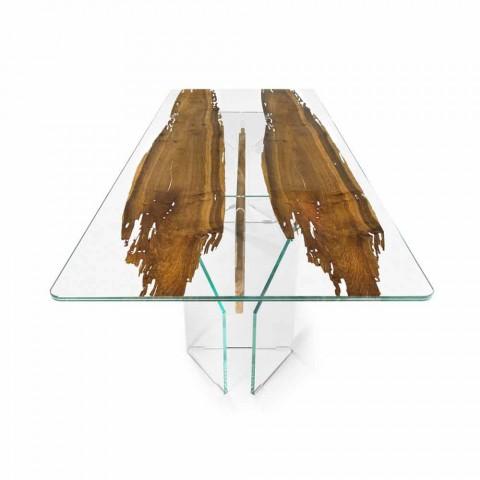 Dolphin Designer dřevěným stolem a Benátky benátského skla