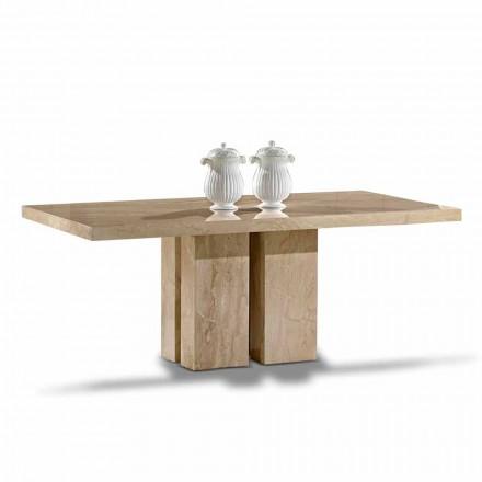 Luxusní stůl s moderním designem, Top v Daino Marble Vyrobeno v Itálii - Zarino