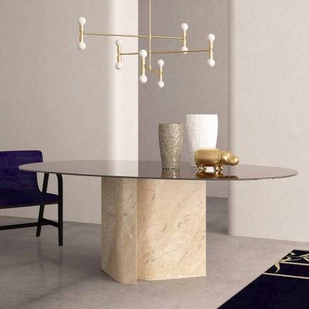 Eliptický stůl v křišťálovém a béžovém korálovém mramoru Vyrobeno v Itálii - Noccia