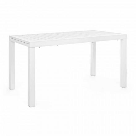 Venkovní zahradní stůl z bílého hliníku nebo výsuvné holubice - Franz