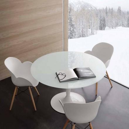 Kulatý stůl pevné extrawhite tvrzeného skla a oceli Aurora