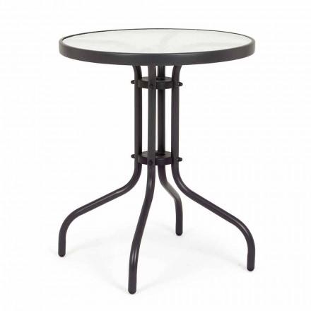 Kulatý ocelový zahradní stůl s designovým sklem - Purizia