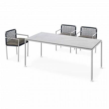 Venkovní designový ocelový a křemenný stůl vyrobený v Itálii - Ontario7