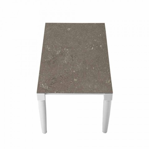 6místný designový keramický stůl a nohy z bílého dřeva - Claudiano