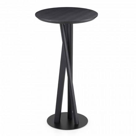 Masivní jasanový a kovový stůl s kulatou deskou vyrobený v Itálii - Baden