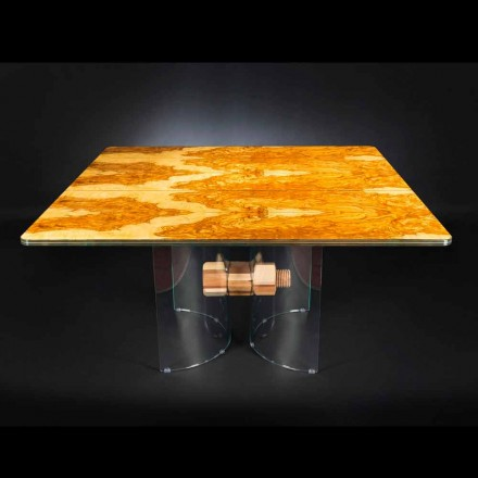 v olivové dřevo stůl a skleněné Portofino čtvercového tvaru