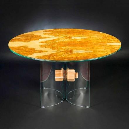 olivového dřevěný stůl a Portofino kolo sklo