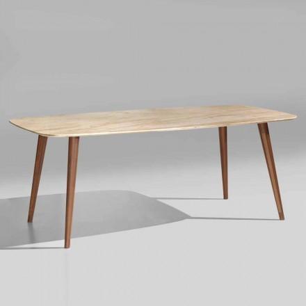 Vysoce kvalitní moderní stůl z mramoru a ořechového dřeva Vyrobeno v Itálii - Hercules
