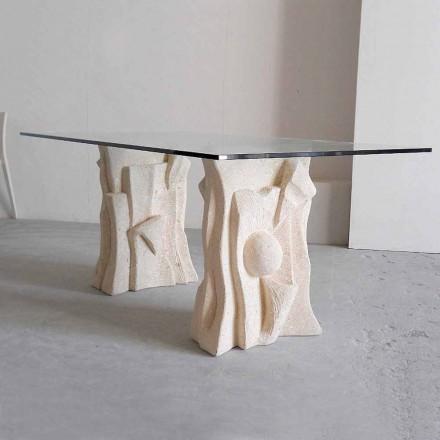 kamenný stůl s moderním designem křišťálově Priam