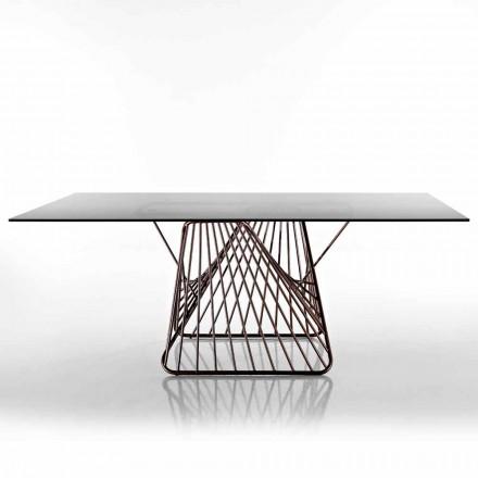 Moderní designový stůl z tvrzeného skla vyrobeného v Itálii, Mitia