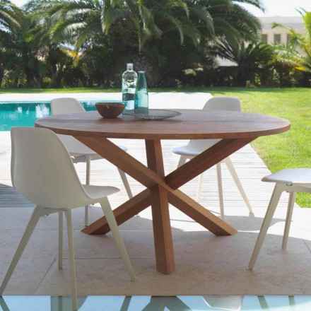 Kulatý zahradní stůl z mahagonového dřeva Bridge od Talenti