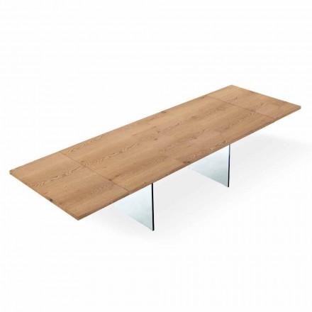 Rozkládací moderní stůl do 300 cm v laminovaném a skleněném provedení v Itálii - Strappo