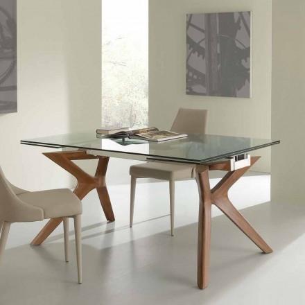 Moderní stolní Výsuvná z nerezové oceli a tvrzeného skla Kentucky