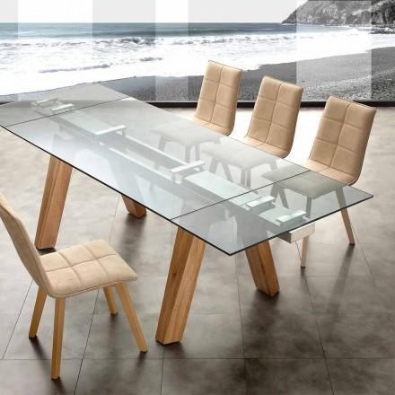 Moderní jídelní stůl v skla a přírodního dřeva na Floridě
