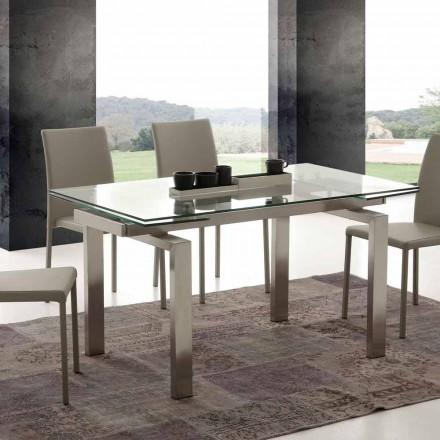 Moderní jídelní stůl z tvrzeného skla a nerezové Gruzii