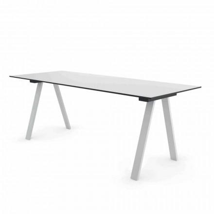 Moderní venkovní designový stůl v kovu a HPL vyrobený v Itálii - Denzil