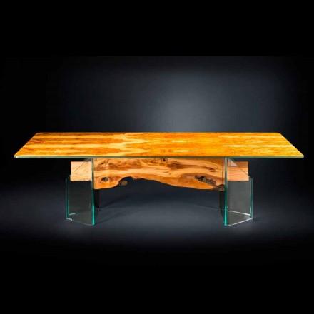 Moderní olivový dřevěný stůl, obdélníkový sklo Portofino