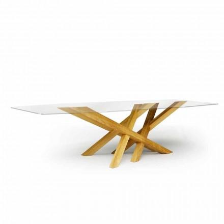 Moderní stůl ve skle a přírodním dubu vyrobený v Itálii Acciano