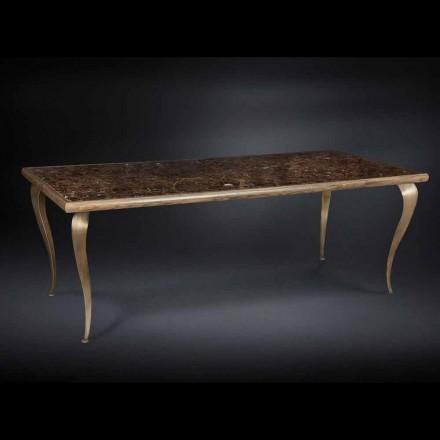 Tabulka neo-klasické s pevnou strukturou dřeva a mramorovou deskou Adam