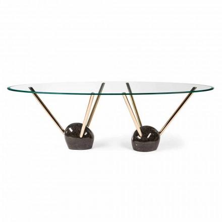 Oválný design stůl se skleněnou deskou 100% Made in Italy Zoe