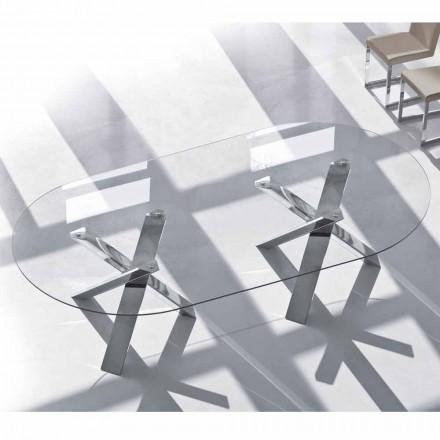 Oválný designový stůl v křišťálu 220x120cm vyrobený v italském stromu