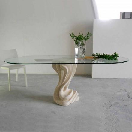 oválný kamenný stůl se skleněnou horní moderního designu Agave