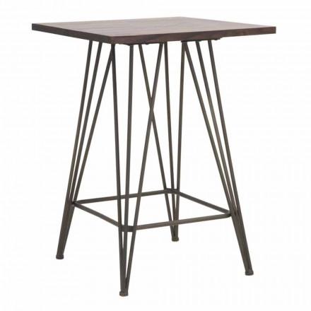 Vysoce průmyslový čtvercový stůl ze železa a dřeva - Helle