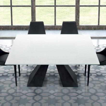 Čtvercový stůl z tvrzeného extrawhite skla a oceli vyrobený v Itálii - Dalmata