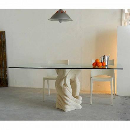 Obdélníkový stůl ve Vicenza Ascanio, vyřezávaný v mao