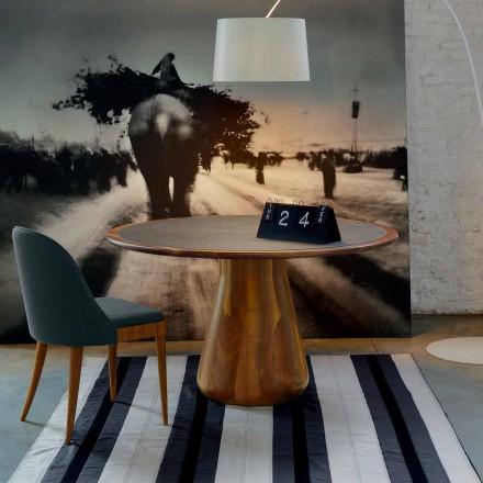Kulatý stůl s masivním dřevem horní přírodního ořech, Charles