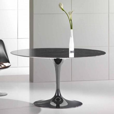 Kulatý jídelní stůl z vysoce kvalitního mramoru Marquinia Made in Italy - Nerone