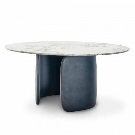 Kulatý designový stůl s leštěným mramorovým deskou vyrobené v Itálii - Mellow Bonaldo