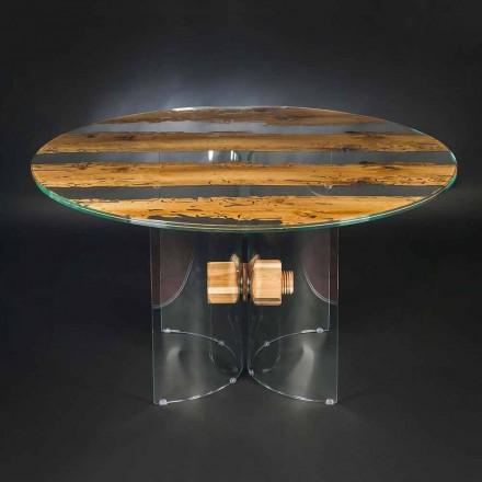 Kruhový tvar tabulka benátského skla a dřevěného delfína