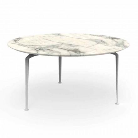 Venkovní designový kulatý stůl v moderním designu z Gresu a hliníku - Cruise Alu Talenti