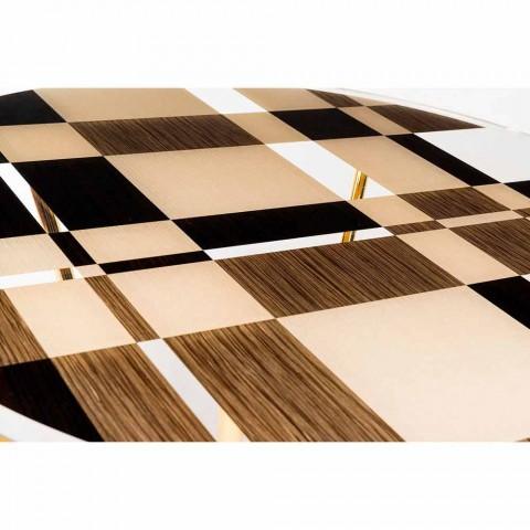 modeno Kulatý stůl se skleněnou deskou a Ozzy dřevěných intarzií