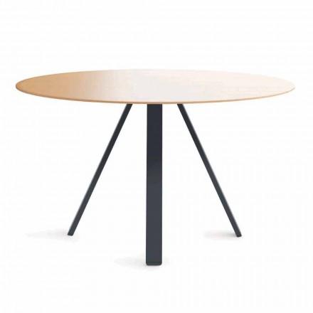 Kulatý jídelní stůl z kovu a MDF vyrobený v Itálii - Cornelius