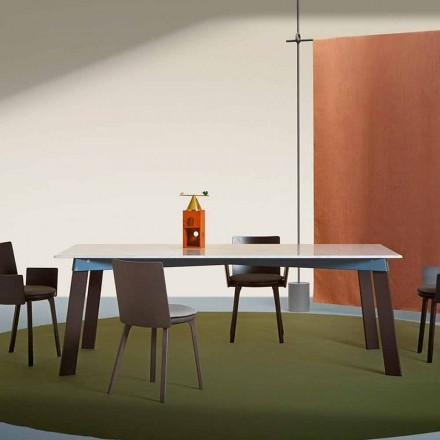 Moderní obývací pokoj z oceli s designovým mramorovým topem - Aronte