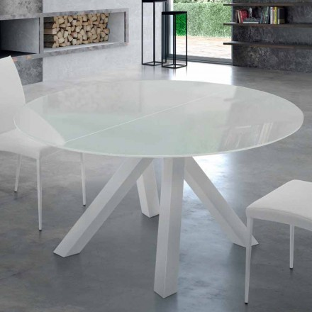 Rozkládací kulatý stůl z tvrzeného skla a oceli vyrobený v Itálii - Settimmio