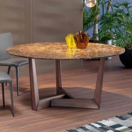 Kulatý stůl s mramorovou deskou a kovovou základnou vyrobené v Itálii - Bonaldo Art