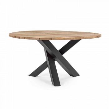 Kulatý venkovní moderní stůl s Homemotion - Ruben Teak Wood Top