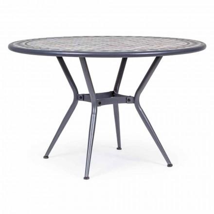 Kulatý zahradní stůl s keramickou deskou zdobený mozaikou - letizií
