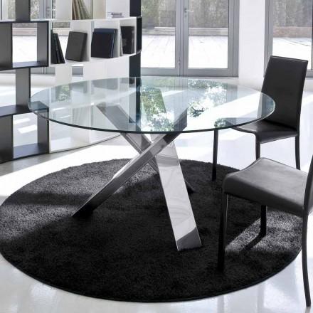 Kulatý designový stůl d.120 skleněná deska vyrobená v Itálii Cristal