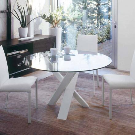 Kulatý designový stůl d.130 skleněná deska vyrobená v Itálii Cristal