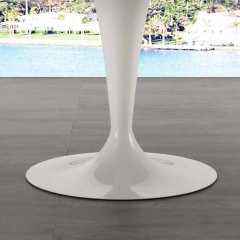 120 cm kulatý stůl s bílým mramorovým vrcholem Carrara
