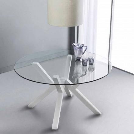 Pevná u kulatého stolu v tvrzeného skla a bílého buku pevné Burgos
